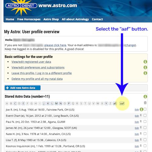 Astrodienst Charts List