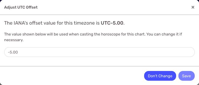 Edit UTC Offset Popup